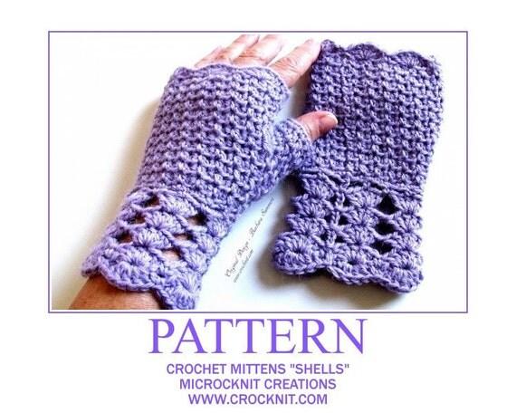 SHELLS Fingerless Mittens Crochet PATTERN Ladies Women fingerless ...