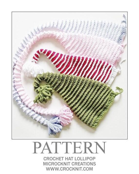 LOLLIPOP Hat Crochet PATTERN elf santa long tail christmas hat baby safe pom pom  Instant pdf download