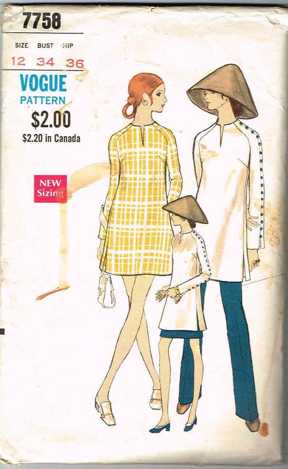 Vintage 1970 Vogue Dress Pattern No. 7758 Size 12