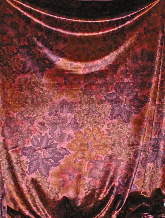 "RESERVED for Brooke: Floral Printed Panne Velvet Knit Fabric  56"" wide 10 Yards Left"
