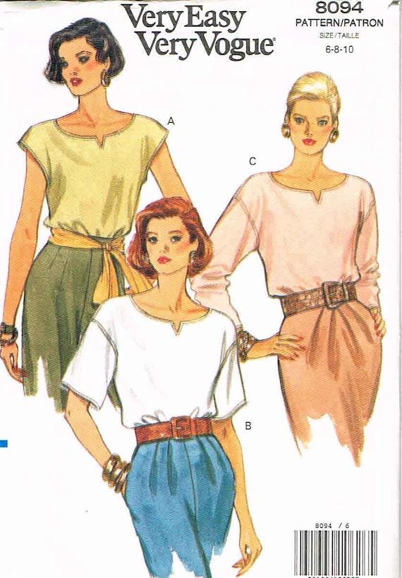 1991 Very Easy Vogue Blouse No. 8094 Sz. 6-8