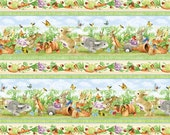 1 Yard Somebunny's Garden Repeating Stripe - Bunny Fabric  Wilmington Prints