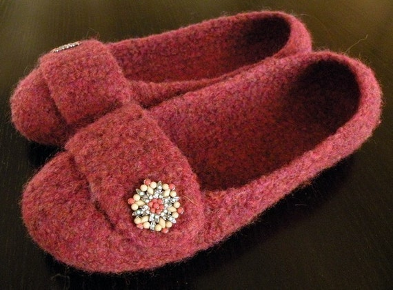 Crocheted Felted Slippers - Adult - Ruby Heather