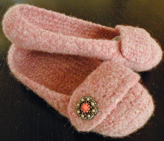 Crocheted Felted Slippers - Adult - Rose Heather