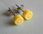 Lemon slice earrings - Surgical steel studs