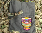 Dicso Owl Hand sewn fleece art  purse with vintage tie strap