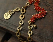 Coral Lupin beaded bracelet