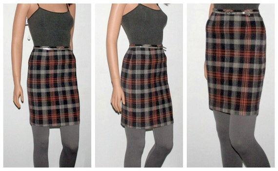 Plaid Pencil Skirt High Waisted Mid-thigh Midi Skirt Stretch