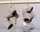 grey ruffles earrings(reserved for culito101)