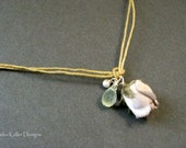 Handmade fabric flower rose bud necklace with waxed linen, prehnite drop, pearl, sterling silver