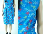vintage 80s abstract SILK STARS DRESS loose day summers dress