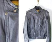 vintage grey leather MOTORCYCLE BOMBER JACKET mens 34