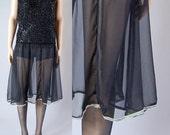 vintage 80s ruffled high waisted BLACK SHEER MINI skirt. s/m/l