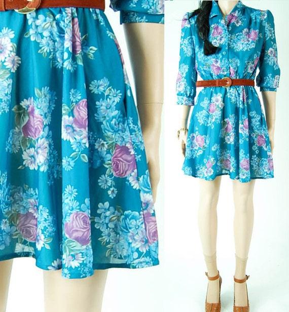 vintage 70s teal semi sheer MINI FLORAL DRESS. drapey romantic summer