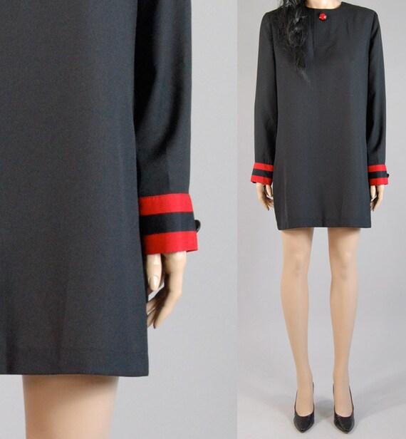 vintage 80s black red MINI MINIMALIST DRESS tent fit s/m/l