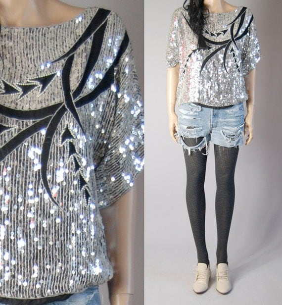 vintage 80s abstract silver black SEQUIN SILK BLOUSE slouchy m/l