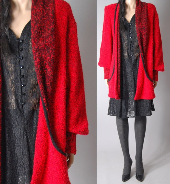 vintage 80s red LONG CARDIGAN SWEATER chunky coat womens m/l
