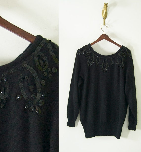 vintage 80s slouchy long BLACK SEQUIN SWEATER beaded m/l