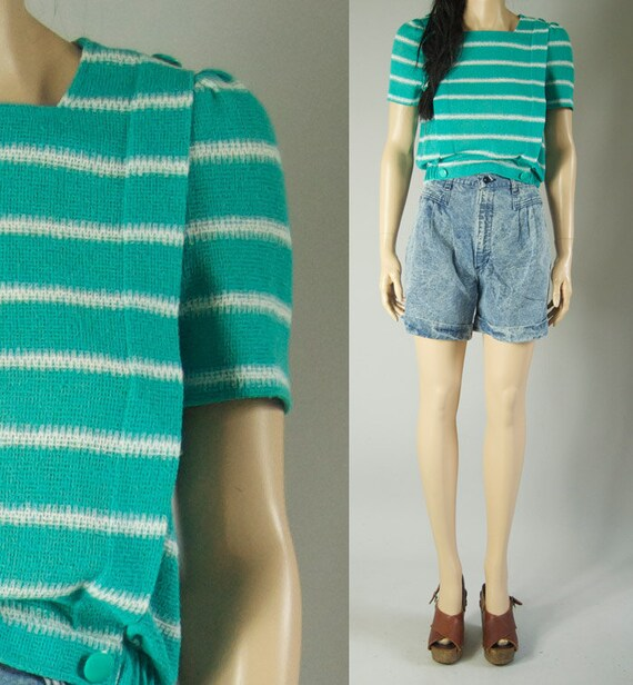 vintage 80s STRIPED GREEN BLOUSE cropped womens s/m