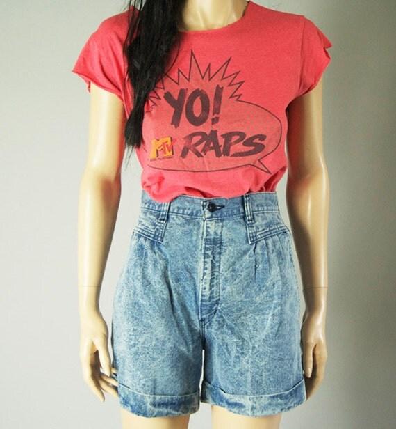vintage 90s distressed YO MTV TEE shirt top womens s/m