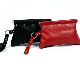 Leather Wristlet Clutch Purse (BLACK)