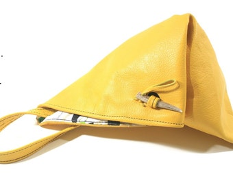 Yellow Leather Triangle Street Bag