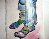 Striped socks original watercolor ACEO