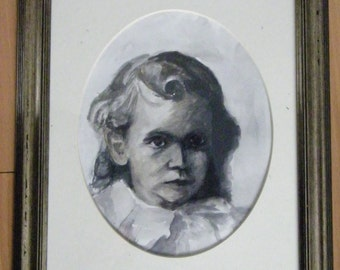 An Old Fashioned Boy framed watercolor