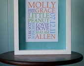 Baby Birth Announcement Typography Wall  Art  5 x 7