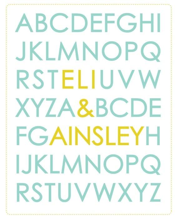 ABC Alphabet Kids Name Typography 11 x 14 Poster - kids room art