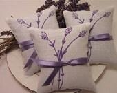Wedding Favors Lavender Sachets  -  Lavender Sprigs Silkscreened Print- Set of Two