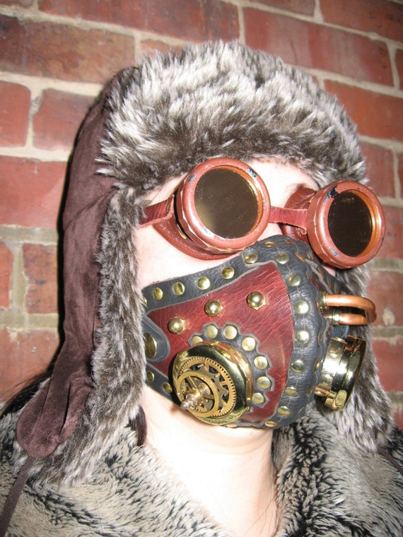 Steampunk or post Apocalyptic Leather and brass tube altitude \/ Gas Mask