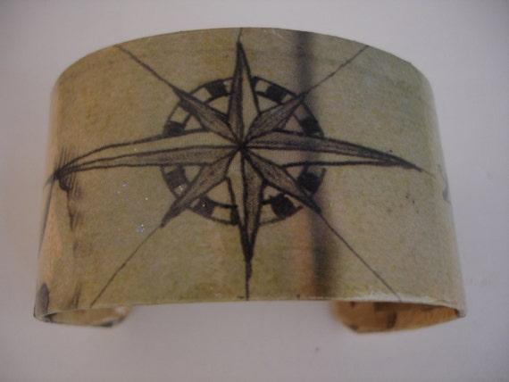 Nautical Compass Decoupage Cuff Bracelet
