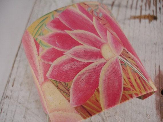 Hawaiian Flower Decoupage Cuff Bracelet
