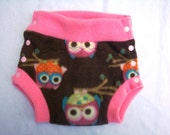 Large Fleece Soaker - Side Snapping Owls on Brown