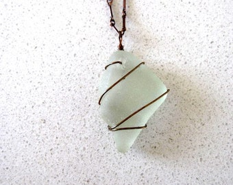 Long Beach-Glass Necklace, Soft Green on an Oxidized Copper Chain