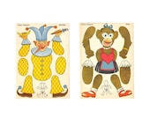 VINTAGE UNIQUE Doll Cut Outs SET OF 2 MONKEY N FRENCH CLOWN