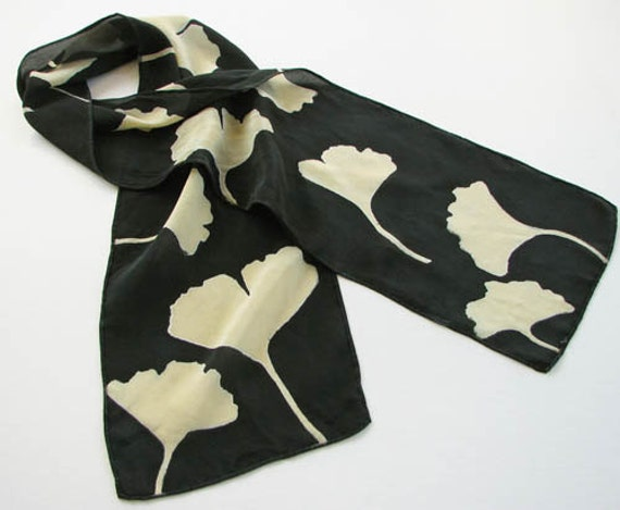 Black and Tan Gingko Leaf Hand Dyed Silk Scarf