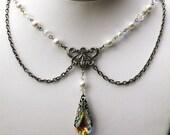 Madeline Crystal AB Teardrop  Necklace Victorian Vintage Style