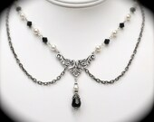 Victorian Style Necklace with Swarovski Pearls and Black Crystals Antiqued Silver
