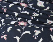 Vintage Japanese Kimono Silk Lovely Delicate Oriental Flowers and Leaves 60ins long