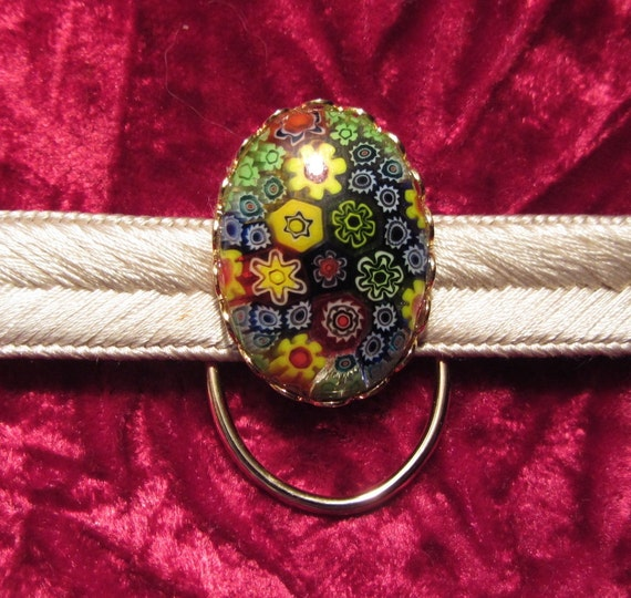 Handmade Millefiori Yellow Mix Glass Cabochon Obidome Scarf Clip Jewellery for wearing with a Japanese Obijime and Kimono