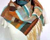 Sedona- Earthy Peacock and Turquoise Handwoven Scarf. Southwest Woven Accessory.