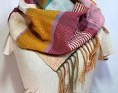 Rosy- Handwoven Mom's Day Scarf. Teal, Rose and Mustard Woven Scarf. Mother's Day Gift.