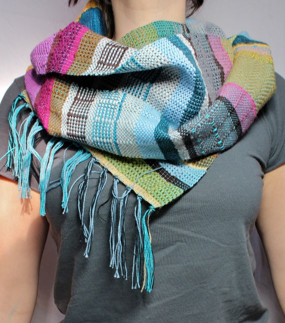 Beth- Punchy Magenta, Peacock and Gray Handwoven Scarf