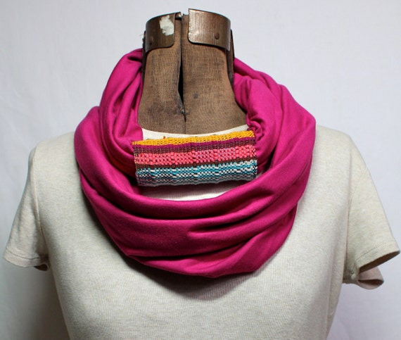 Magenta Infinity Scarf with Woven Cuff - Organic Cotton Jersey and Handwoven Scarf -  Summer Fashion Snood - Neon Plum Circle Scarf