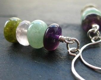 Arran Earrings. Amethyst, Rose Quartz, Aventurine, Jade