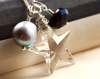 Necklace, Pearl. Swarovski. Silver. Black and Silver. Starlet