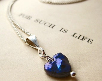 Pearl Heart Necklace. Midnight Blue. Silver