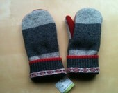 Recycled Sweater Mittens with super soft lining- grays and red